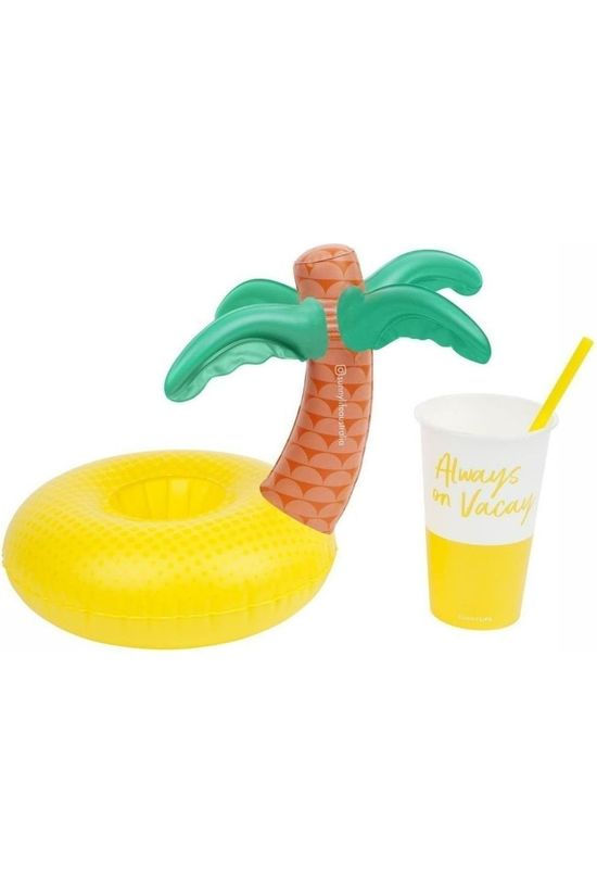 Sunnylife Toys Inflatable Drinkholder Tropical Island mid yellow/mid green
