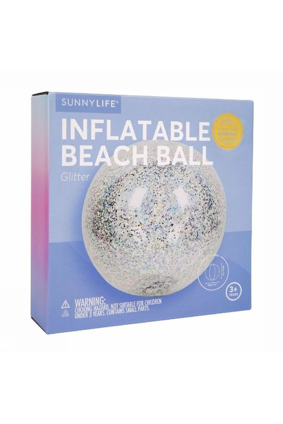 Sunnylife Toys Inflatable Beach Ball Glitter silver