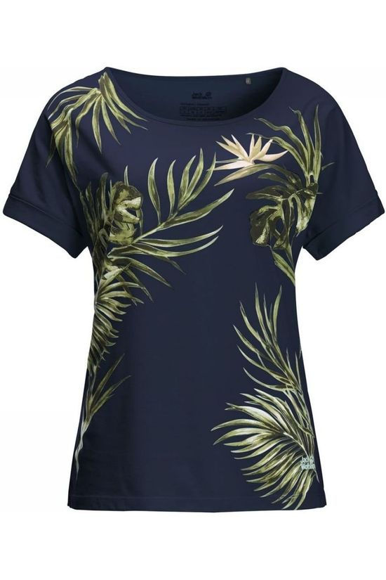 Jack Wolfskin T-Shirt Tropical Leaf T Bleu Marin/Ass. Fleur