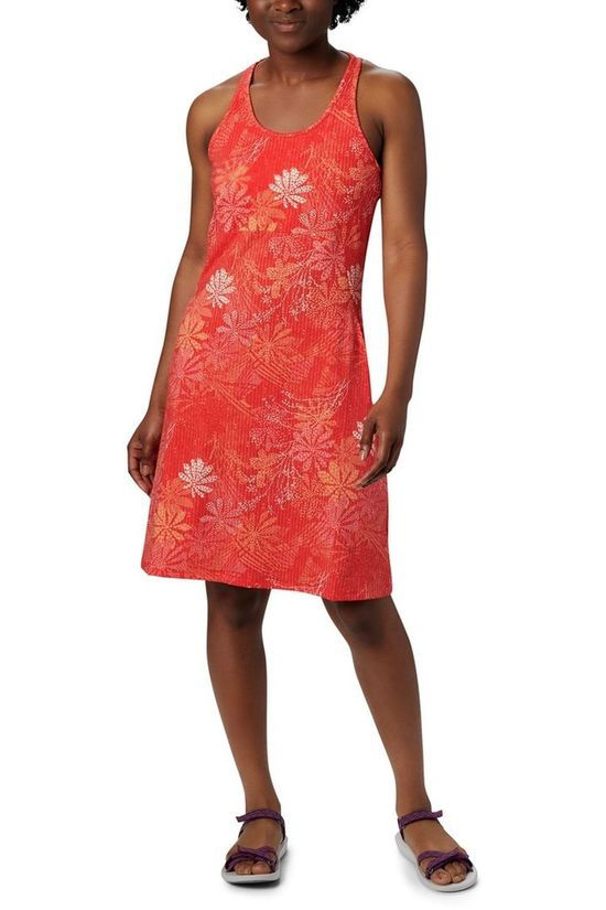 Columbia Dress Peak To Point Knit Red/Ass. Flower