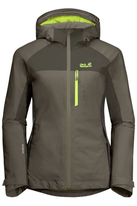 Jack Wolfskin Coat Eagle Peak Insulated Taupe/Lime Green
