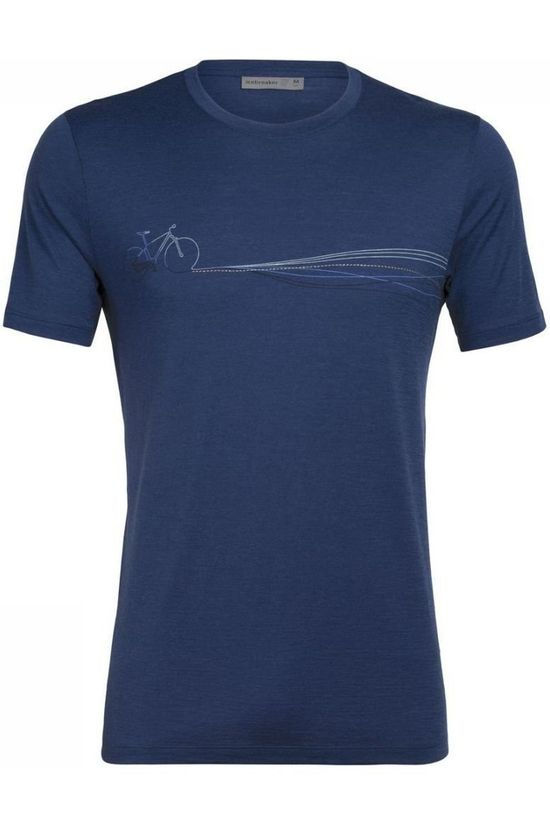 Icebreaker T-Shirt Ice Tech Lite Tee Cadence Paths Bleu