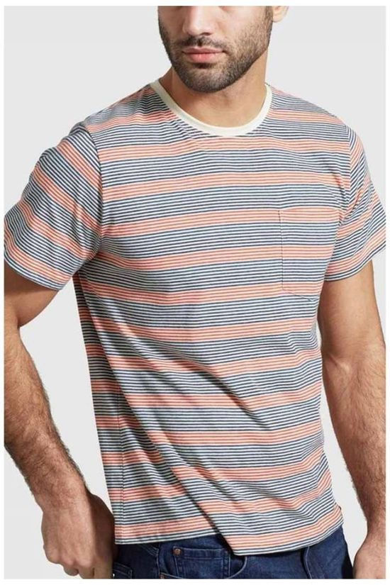 United by Blue T-Shirt Striped Pocket Ecru/Assortiment