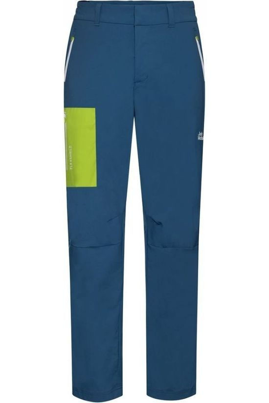 Jack Wolfskin Trousers Overland Mid Blue/Lime Green