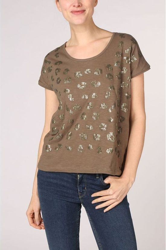 Kaporal T-Shirt Round With Sequins Middenkaki