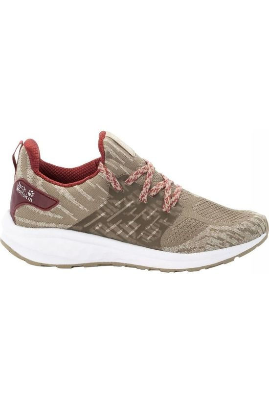 Jack Wolfskin Shoe Coogee Knit Low Sand Brown/Dark Red