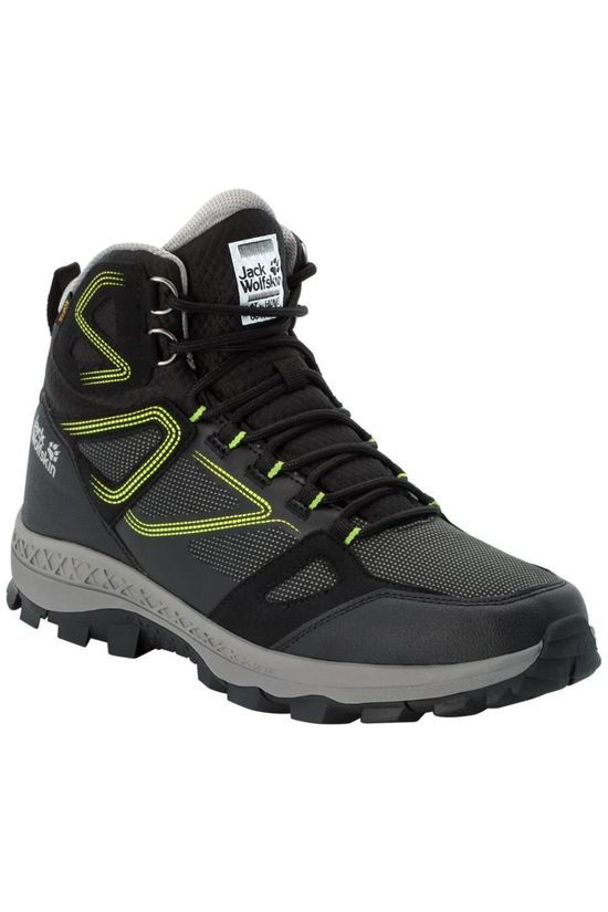 Jack Wolfskin Shoe Downhill Texapore Mid Black/Lime Green