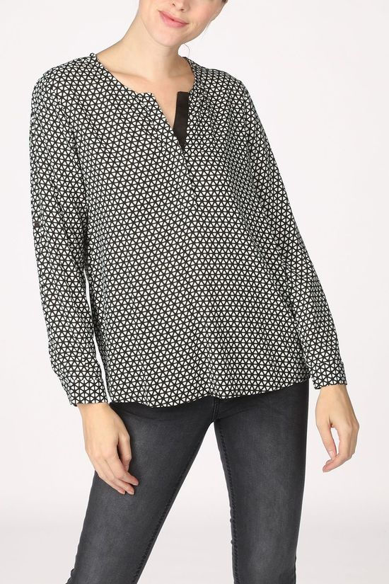 Tom Tailor Blouse 1021097 Middengroen/Gebroken Wit