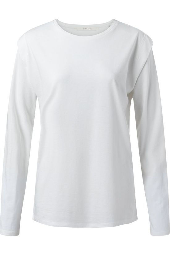 Yaya T-Shirt Shoulder Pleat Long Sleeve Gebroken Wit
