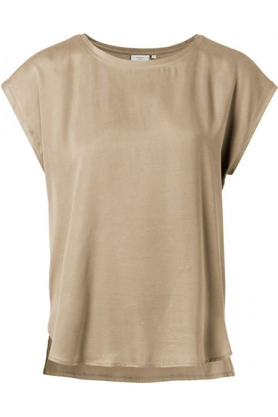 Yaya T-Shirt Fabric Mix With Rounded Hems mid brown