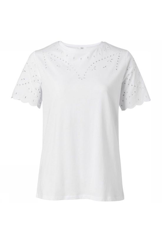 Yaya T-Shirt Cotton Broderie Anglaise Wit