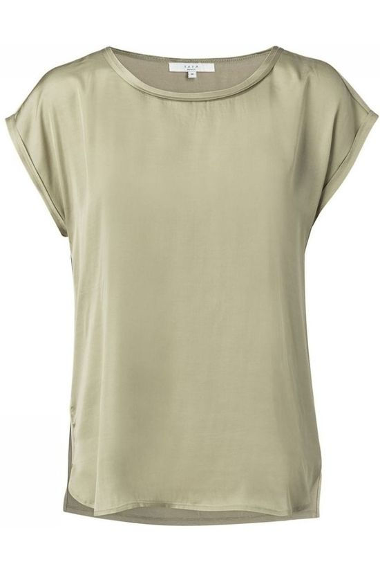 Yaya T-Shirt Fabric Mix Contrast Stitching Middenkaki