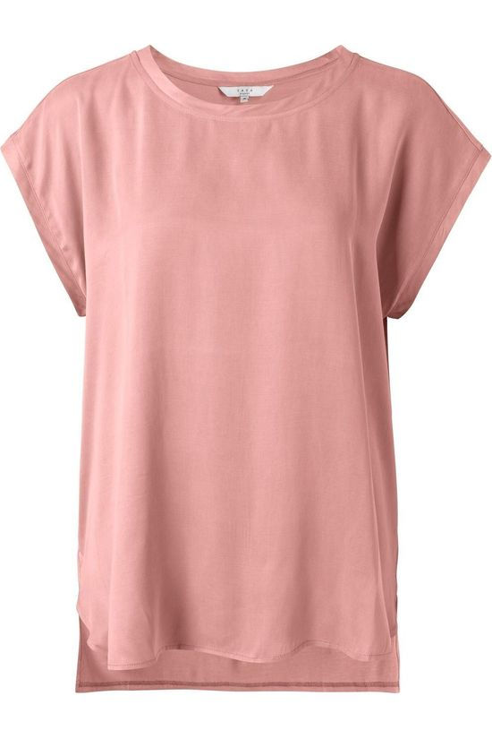 Yaya T-Shirt Cupro Blend Fabric Mix Lichtroze