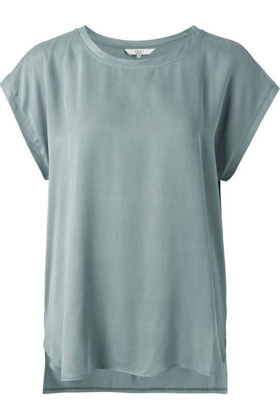 Yaya T-Shirt Cupro Blend Fabric Mix Petrol