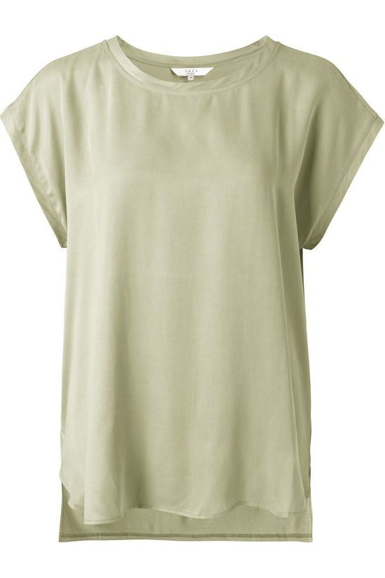Yaya T-Shirt Cupro Blend Fabric Mix Lichtgroen
