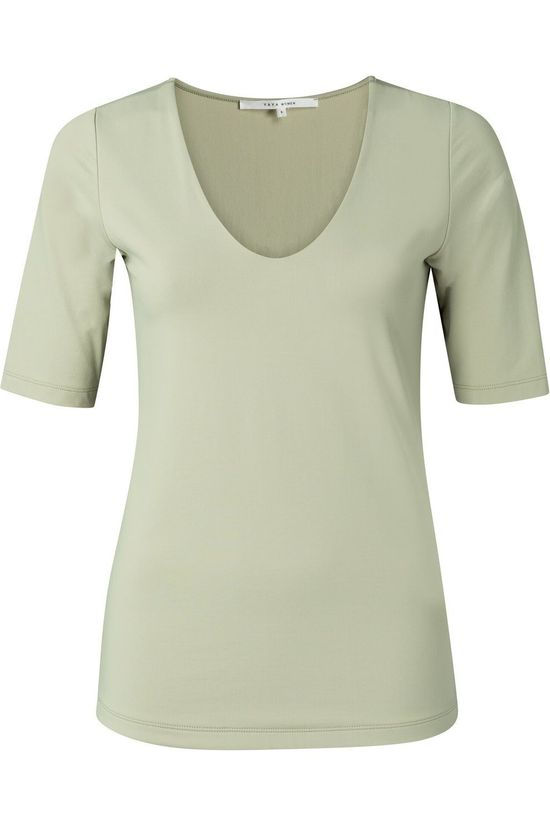 Yaya T-Shirt Round V-Neck With Half Sleeves Lichtgroen