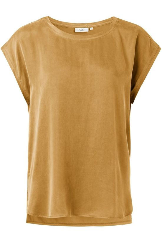 Yaya T-Shirt Fabric Mix With Rounded Hems Donkergeel