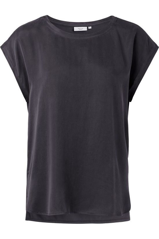 Yaya T-Shirt Fabric Mix With Rounded Hems Donkergrijs