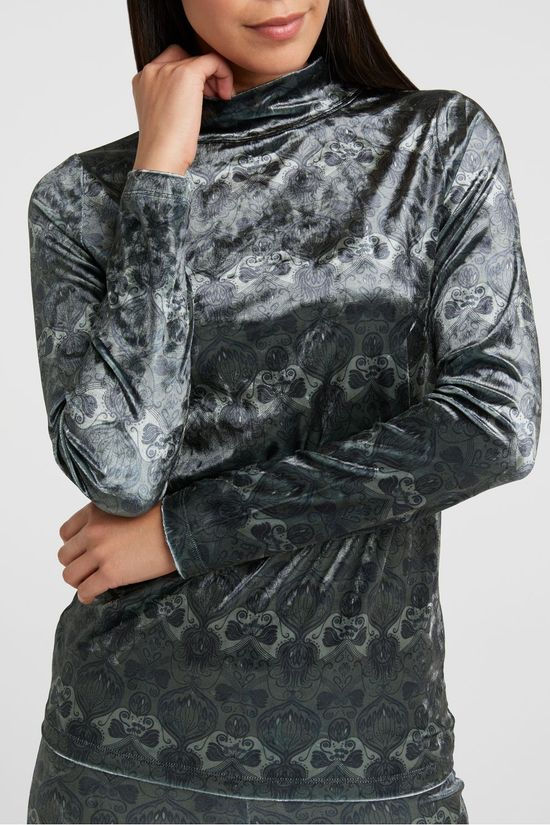 Yaya Polo Neck Soft Velvet High Neck Top With Floral Print Dark Brown/Ass. Geometric
