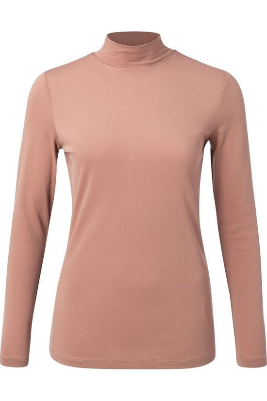 Yaya Sous-Pull Modal Blend Top With High Neck Rose Clair