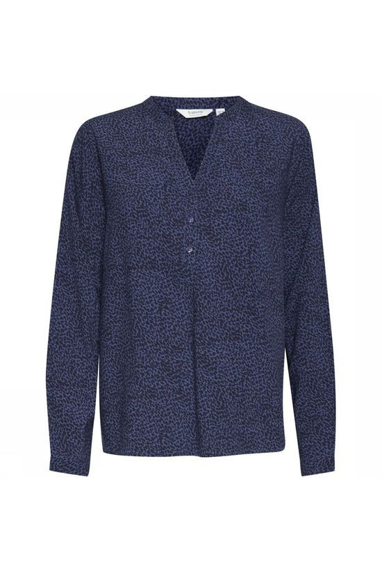 B.Young Blouse Byilla V Neck Blouse - Middenblauw/Zwart