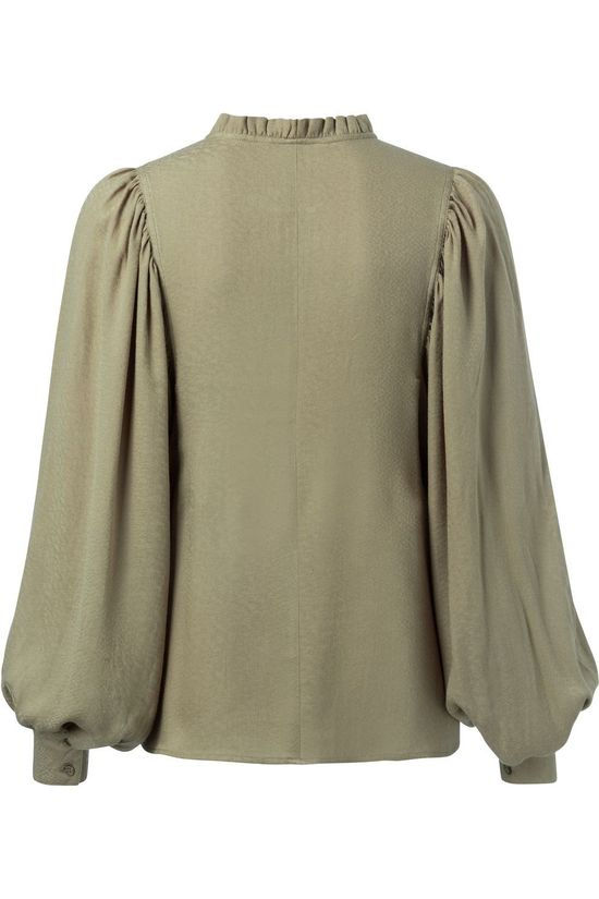 Yaya Blouse Woven With Puff Sleeves And Ruffles Lichtkaki