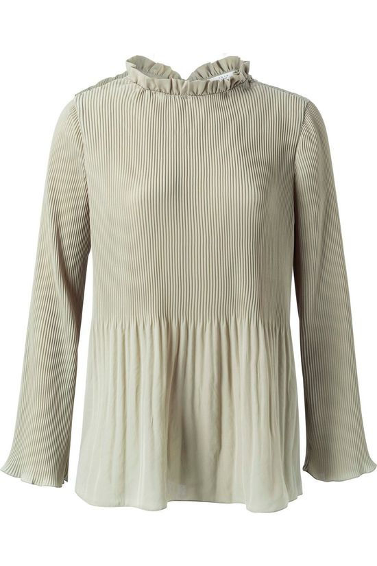 Yaya Blouse Fully Pleated With Ruffled Neck Lichtbruin