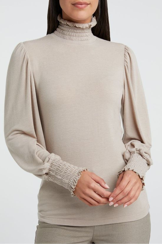 Yaya Blouse With Smocked High Neck And Cuffs In Viscose Taupe