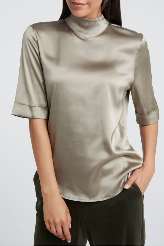 Yaya Blouse Shiny Satin High Neck With Short Sleeves Lichtgroen