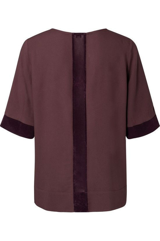 Yaya Blouse Regular Fit Top With Velvet Cuffs And Back Bordeaux / Marron