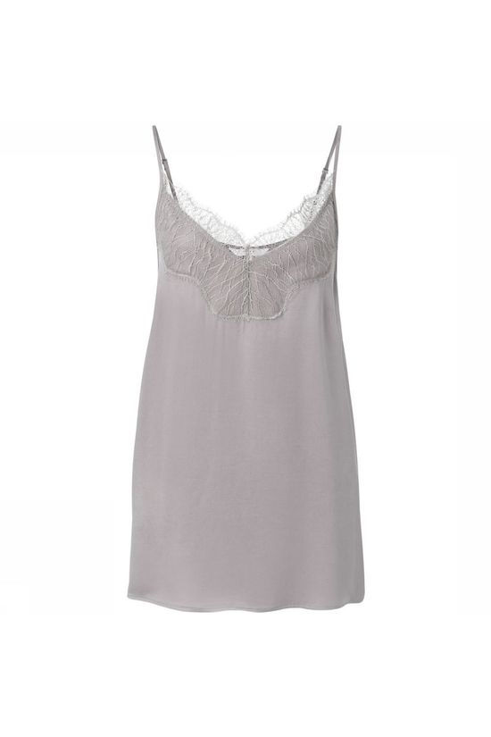 Yaya Blouse Cupro Blend Strap Singlet With Lace Gris Clair