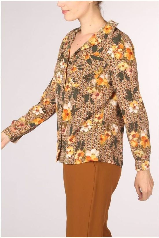 Vila Joy Shirt Betha-L-22-A Ecru/Ass. Flower