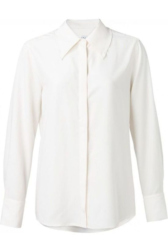 Yaya Chemise Modal With Ruffles On Cuffs And Collar Blanc Cassé
