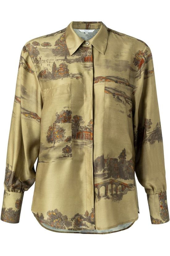Yaya Shirt Silk Blend Shirt With Concealed Buttons And Pockets light khaki/dark brown