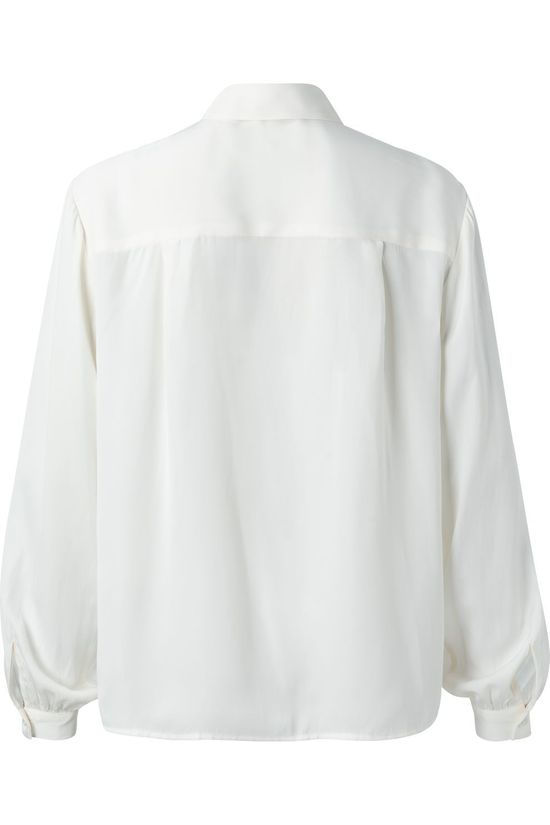 Yaya Hemd Satin With Puff Sleeves Wit