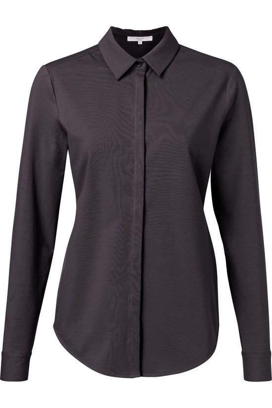 Yaya Shirt Cotton Blend Shirt With Concealed Closure dark grey