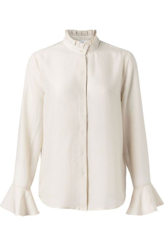 Yaya Chemise Blouse With Ruffled Neck And Flared Cuffs Rose Clair
