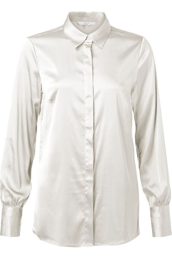Yaya Hemd Satin Stretch Shirt With Detailed Cuffs Gebroken Wit