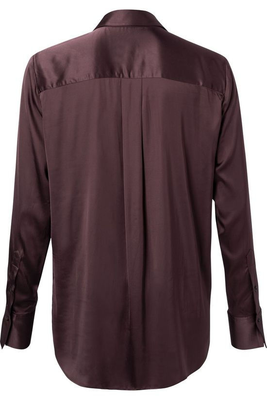 Yaya Chemise Flowy Satin Tunic Blouse With Polo Neck Bordeaux / Marron