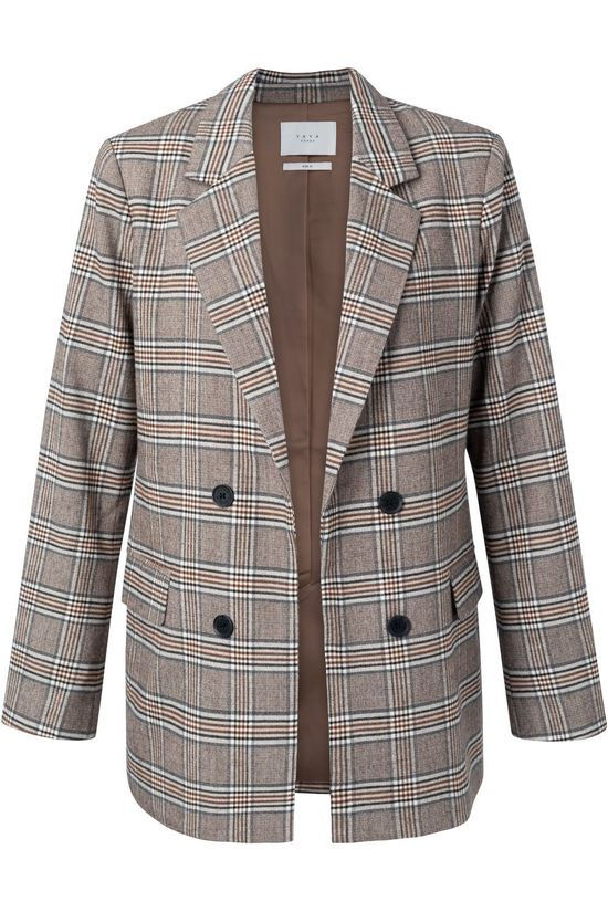 Yaya Blazer With Checks Donkerbruin/Lichtbruin