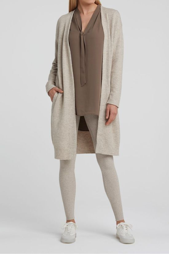 Yaya Cardigan Long With Side Pockets Ecru