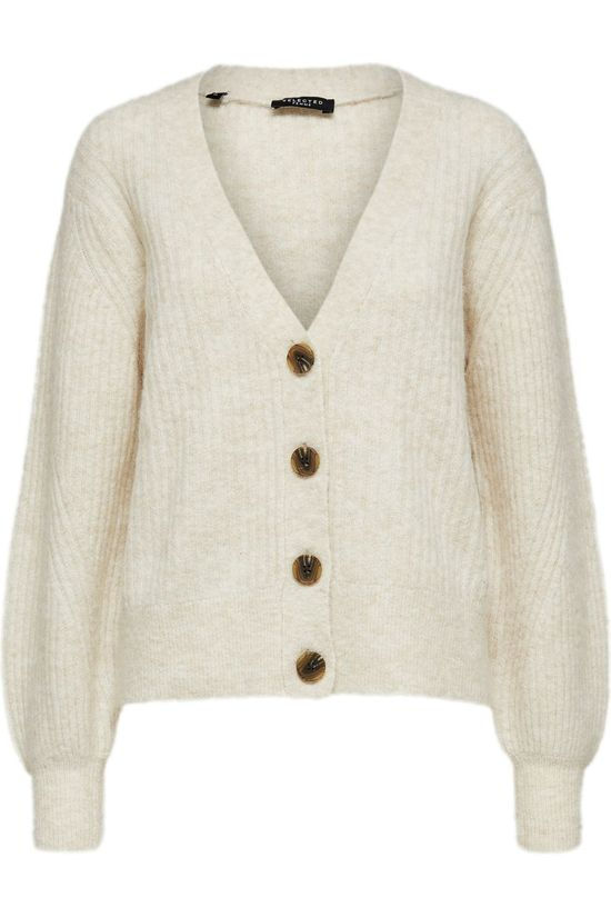Selected Cardigan sif-Kai Ls Rib Knit B Sand Brown