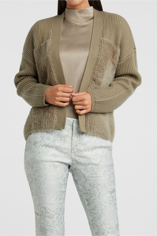 Yaya Cardigan Faux Fur Fabric Mix Lichtgroen