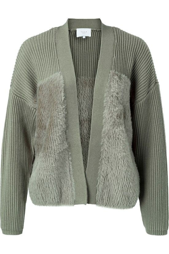 Yaya Cardigan Faux Fur Fabric Mix Vert Clair