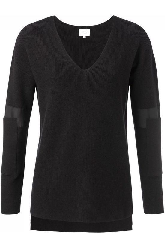 Yaya Trui V-Neck With Fancy Detail Sleeve Zwart
