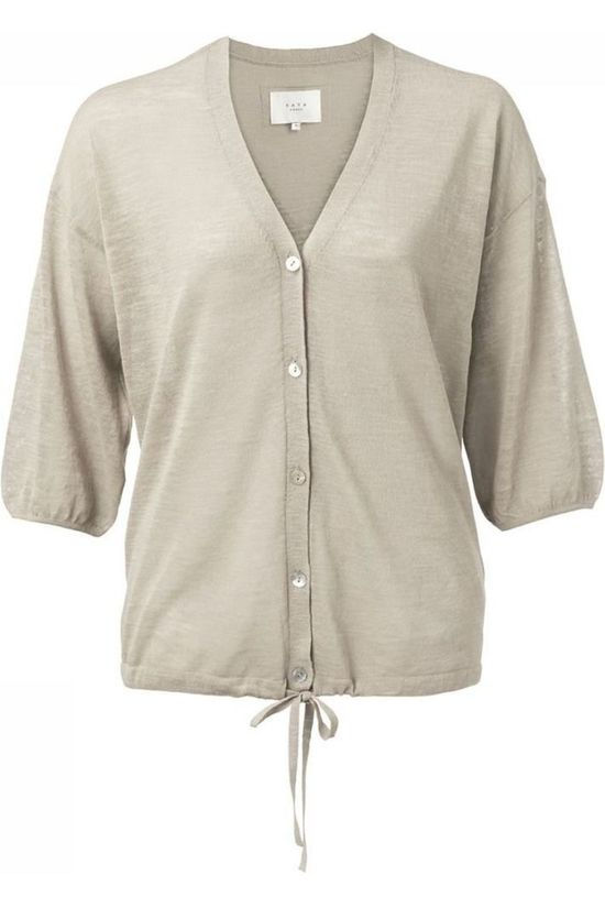 Yaya Pullover Cotton Linen Blend With Drawstring Sand Brown