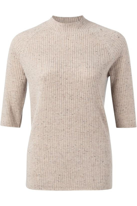 Yaya Pullover Ribbed High Neck With Half Sleeves Ecru