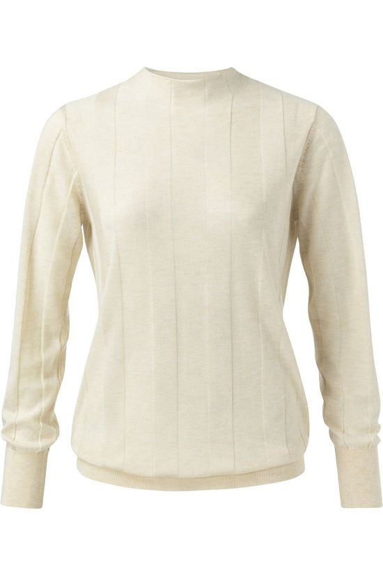 Yaya Pull Mix Knitted Mock Neck With Stripe Print Blanc Cassé