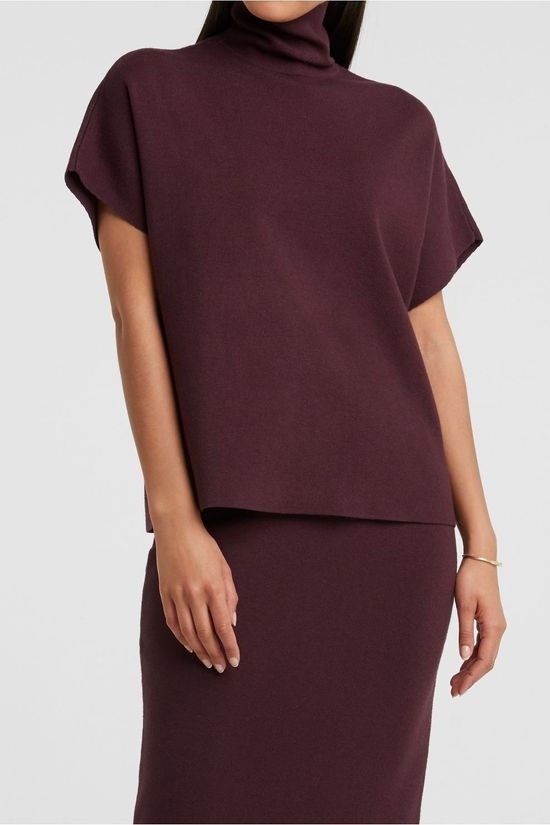 Yaya Pull Knitted High Neck Co-Ord Sweater With Short Sleeves Bordeaux / Marron