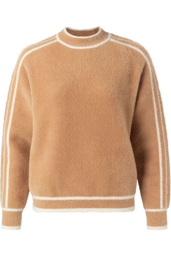 Yaya Pullover Fluffy Mock Neck With Contrast Stripes Sand Brown